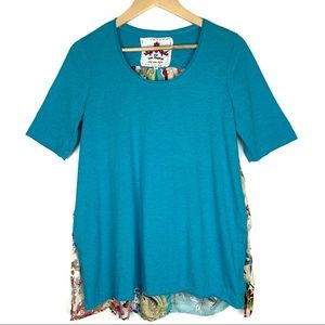 Johnny Was Patchwork Floral Mixed Top